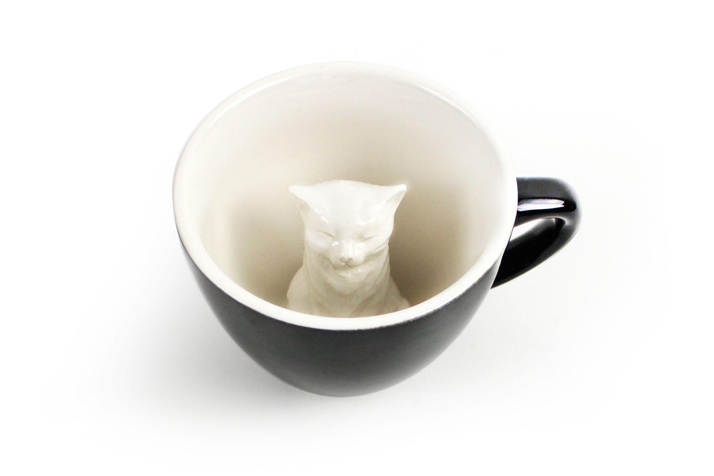 Пинкл (Pinkl) | Кружка с котиком | Creature Cups Cat Dark Grey