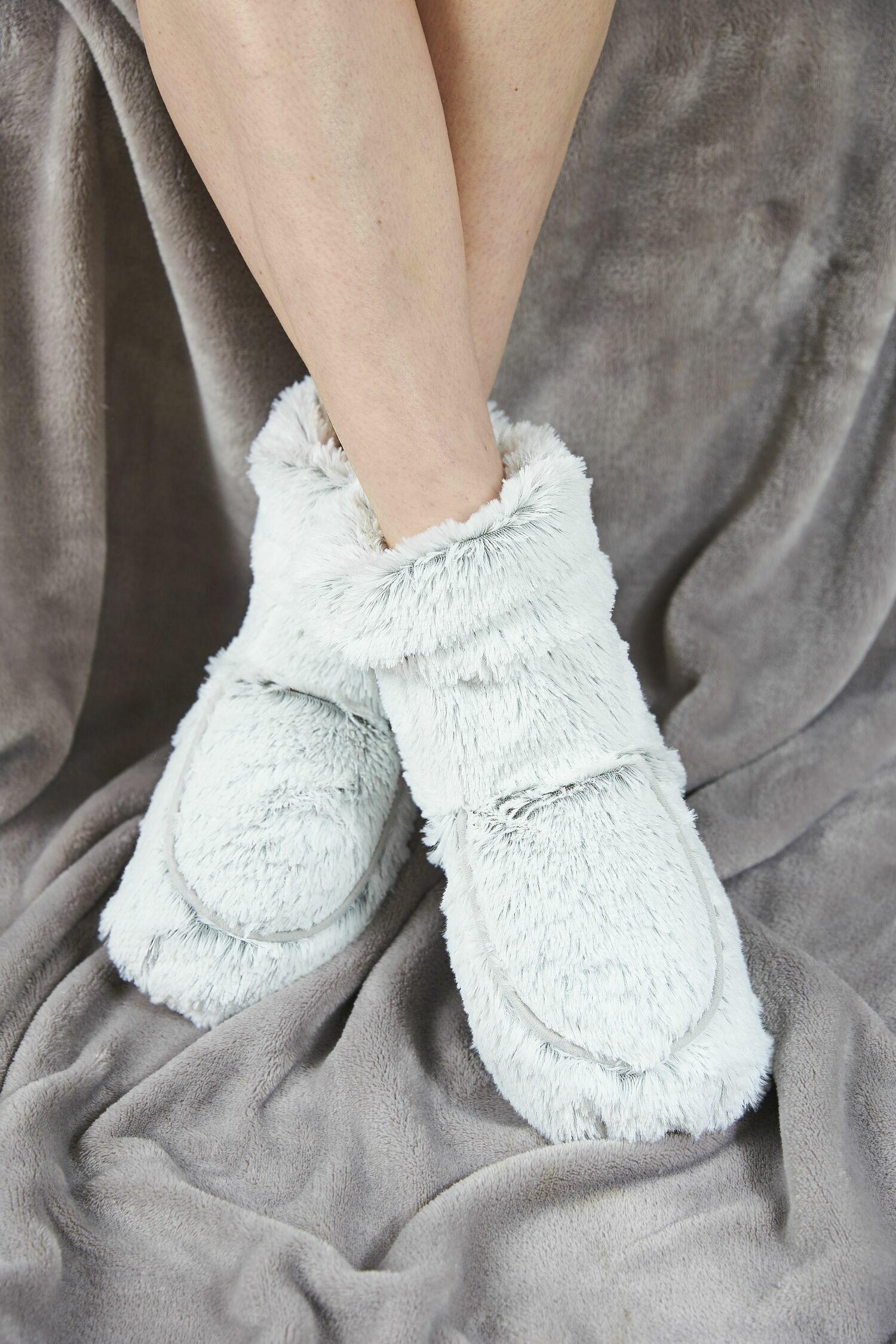Пинкл (Pinkl) | Сапожки-грелки серые Marshmallow | Intelex Ltd Warmies Cozy Body Grey Marshmallow Boots