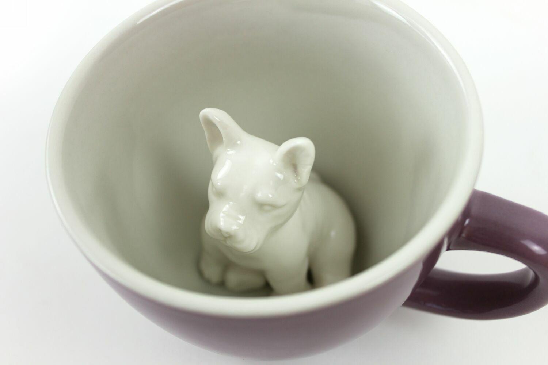 Пинкл (Pinkl) | Кружка с псом 330мл | Creature Cups Frenchie Mauve