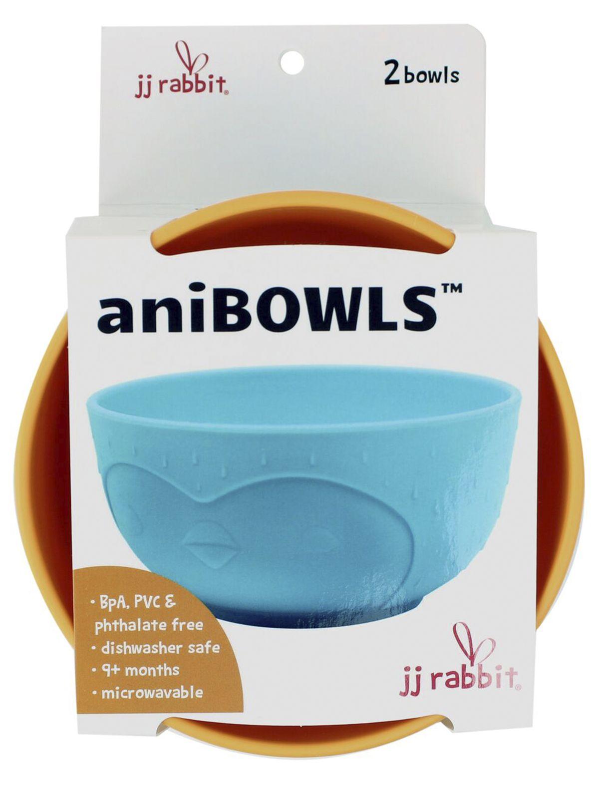 Пинкл (Pinkl) | Детская миска для кормления aniBOWLS пингвин(2шт) | Jjrabbit Anibowl Penguin