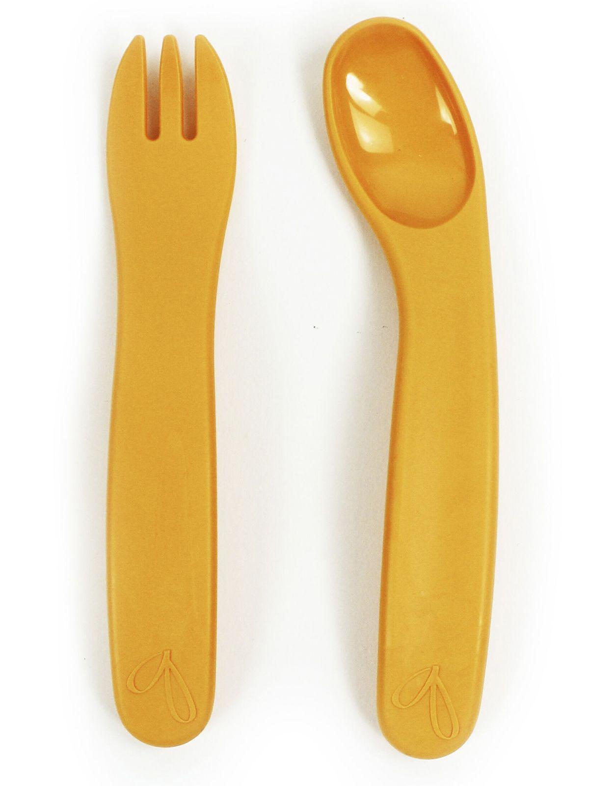 Пинкл (Pinkl) | Набор для кормления ergoFORK оранжевый | Jjrabbit Ergofork Spoon Orange