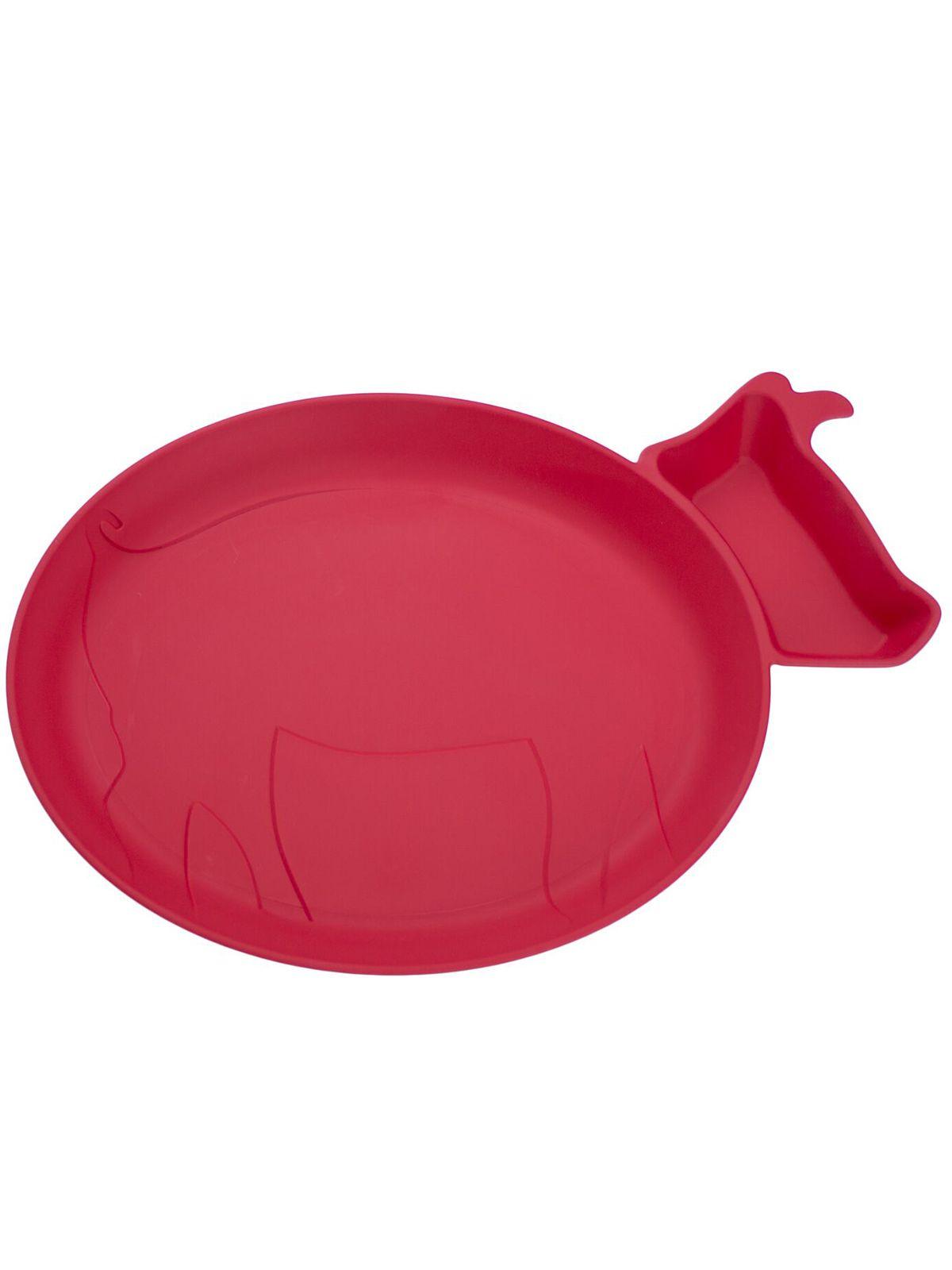 Пинкл (Pinkl) | Детская тарелка для кормления dipPLATEs красный поросенок | Jjrabbit Dipplate Piglet Red