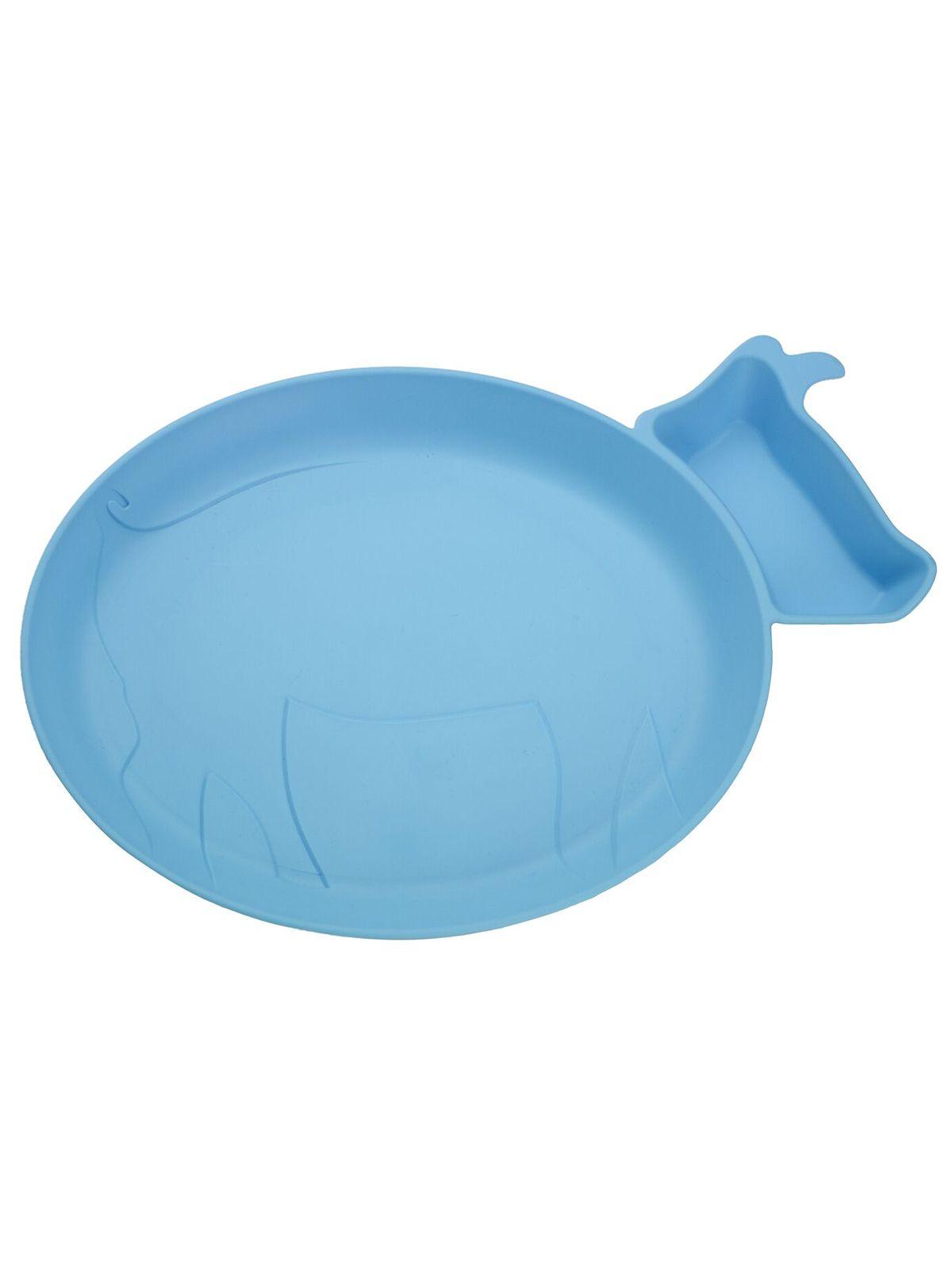 Пинкл (Pinkl) | Детская тарелка для кормления dipPLATEs голубой поросенок | Jjrabbit Dipplate Piglet Blue