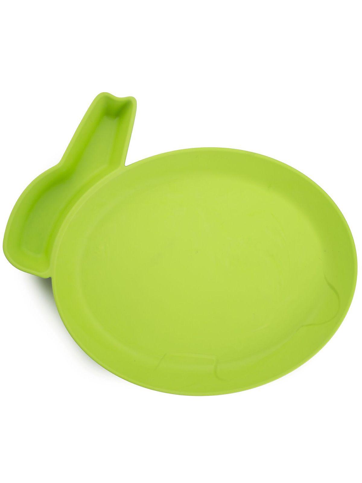 Пинкл (Pinkl) | Детская тарелка для кормления dipPLATEs зеленый кролик | Jjrabbit Dipplate Rabbit Green